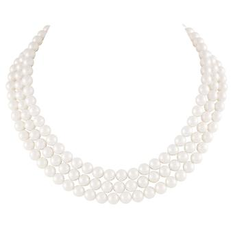 Eternal Collection Regal Three Strand White Shell Pearl Necklace