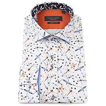 Gids Londen katoen satijn veelkleurige Dragonfly afdrukken Mens Shirt