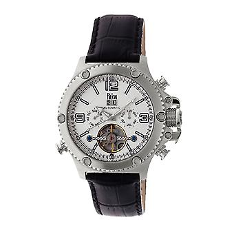 Reign Goliath Automatic Leather-Band Watch - Silver