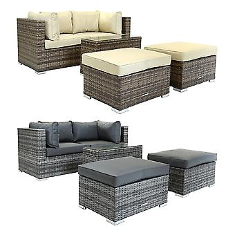Charles Bentley 2 / 3 Seater Multi Use Rattan Lounge Set Love Seat Footstools Table in Natural / Grey