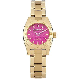 Superdry Mini Watch for Japanese Quartz Analog Woman with SYL158PGM Stainless Steel Bracelet