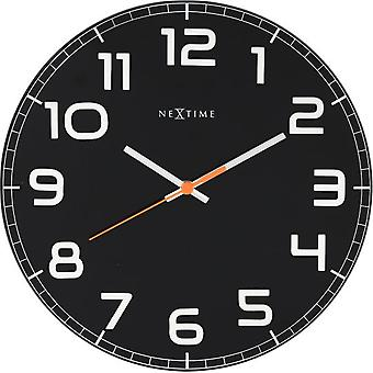 Nextime Wanduhr Ø 30,0X3,5 Cm Glas Schwarz Classy Round (Dekoration , Uhren)