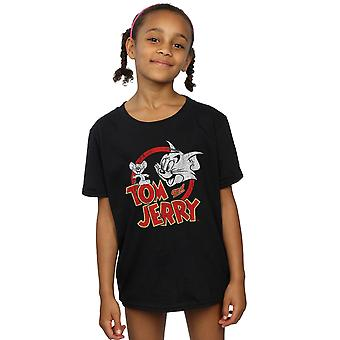 Tom y Jerry Girls camiseta de logotipo angustiada