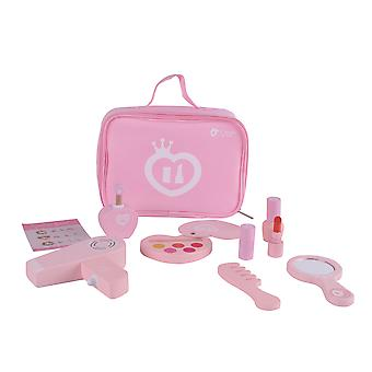 Classic World - Pink Wooden 9 Piece Make-up Set for Children, Portable Playset