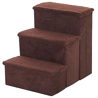PawHut Pet Stairs Washable Fleece Faux Suede Cover 3 Step Dog Cat Foldable Portable Mobility Assistance 41 x 19cm Brown