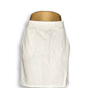 Denim & Co. Kobiety's Szorty Essentials Pull-On Knit Skort Biały A231545