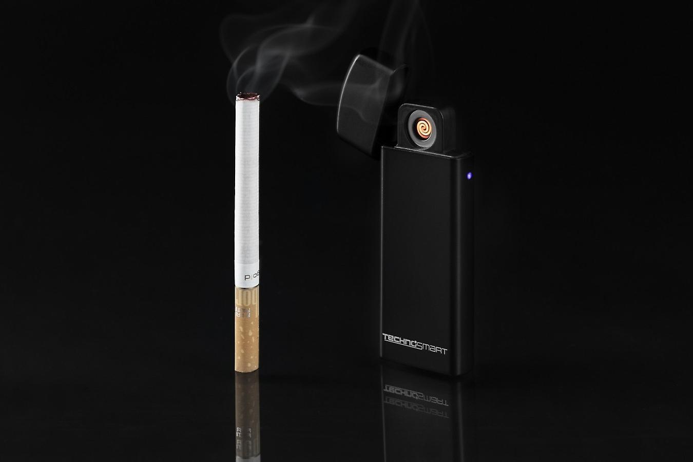 TECHNOSMART electric lighter incandescent spiral, cigarette lighter without fire, USB rechargeable with battery indicator, cigarette lighter without gas windproof, black matt