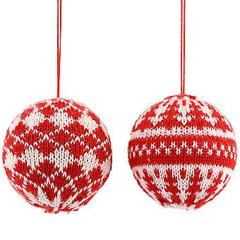 Gisela Graham 8cm Red & White Knitted Nordic Style Christmas Bauble Tree Decoration