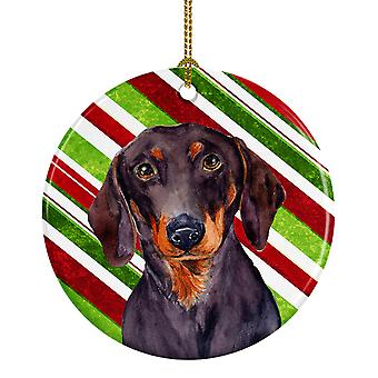 Dachshund Candy Cane Holiday Christmas Ceramic Ornament LH9223