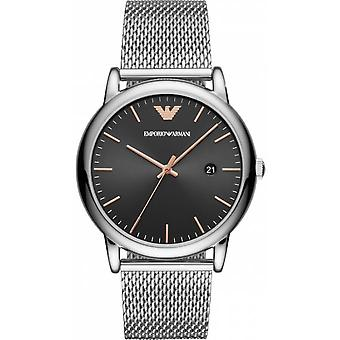 Emporio Armani Watch AR11272-Milansilver stål Dateur sort mænds sort urskive