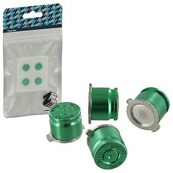 Aluminum metal action bullet button set for sony ps4 controllers - green