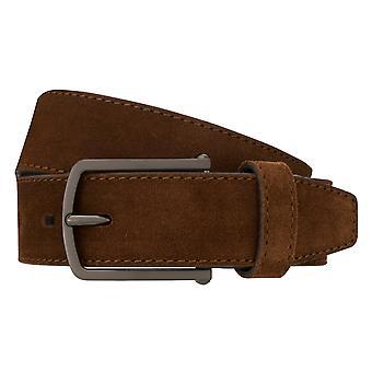 Bugatti bälte mäns bälte mocka läderbälte Brandy 8376