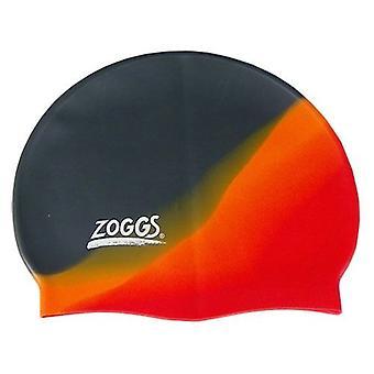 Zoggs Multi Colour Silicone Swimming Swim Cap Adult - Grey/Orange