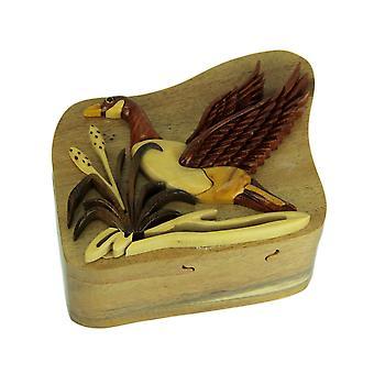 手に細工された木製のマガモのアヒル パズル安物の宝石箱