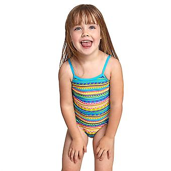 Zoggs Regenbogen Yaroomba Mädchen's Classicback ein Stück Badeanzug in mehrfarbig