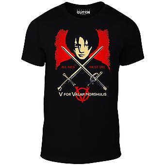 Mannen ' s v voor Valar morghulis t-shirt-geïnspireerd door spel van tronen Arya Stark