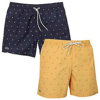 Lacoste herr fickor Micro mönster Print simning trunk shorts