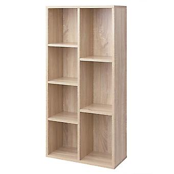 Bookcase with 7 compartments - white or oak