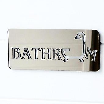 Signo de acrílico de la puerta espejada cuarto de baño y ducha bronce