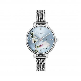 Ted Baker Kate Quartz Floral Dial Silver Mesh Stainless Steel Bracelet Ladies Watch TE50070009