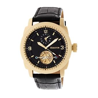 Heritor Automatic Helmsley Semi-Skeleton Leather-Band Watch - Gold/Black