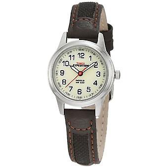 Timex expedición crema Dial marrón cuero tela correa de reloj (modelo no. T41181)