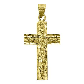 14kイエローゴールドメンズDCクロス十字架の高さ35.1ミリメートル宗教的ペンダントネックレスチャームジュエリー男性のためのギフト