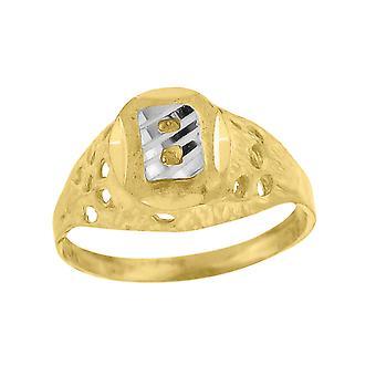 10k Two tone Gold baby voor jongens of meisjesLetter Naam Gepersonaliseerde Monogram Initial B Band Ring Maatregelen 7.5x2.20mm Wide S