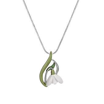Eternal Collection Promise Of Spring Enamel Snowdrop Silver Tone Flower Pendant