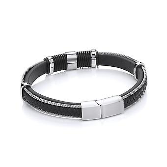 David Deyong Stainless Steel Braided Vegan Leather Wire Bracelet