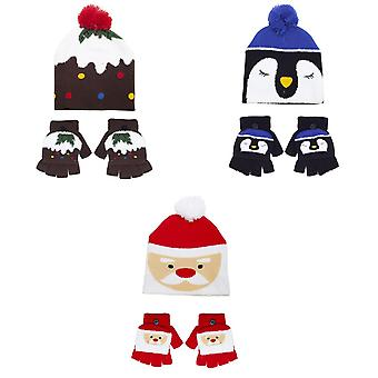 Childrens/Kids Christmas Bobble Hat Glove Set