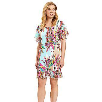 Féraud 3205050-16576 Women's Blue Ethno Feather Beach Dress