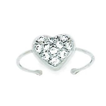 14k White Gold CZ Cubic Zirconia Simulated Diamond Adjustable Love Heart Body Jewelry Toe Ring Jewelry Gifts for Women