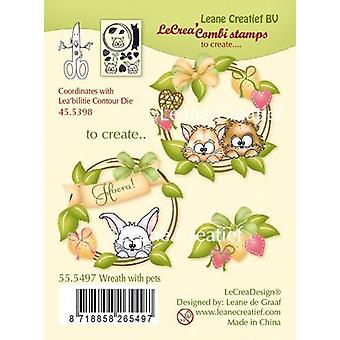 Leane Creatief Wreath with Pets Clear Stamp