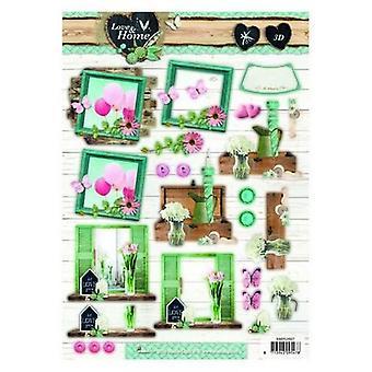Studio Light Easy 3D Die cut sheet A4 Love & Home nr 507 EASYLH507