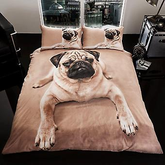 Pug dog duvet Bed set reversible 230x220 + 50x75 cm