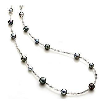 Luna Pearls Bead necklace Tahiti beads 9-12mm Labradorite 925 Silver Rhod. 1063894