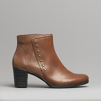 Rieker Y8957-22 Damer læder ankel støvler kastanje