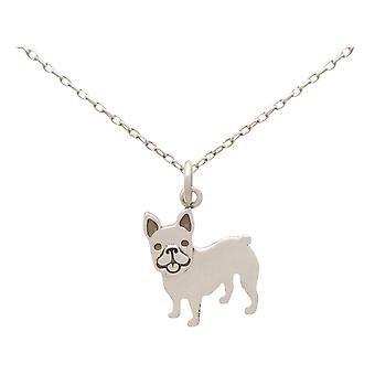 GEMSHINE chain French Bulldog dog pendant 925 silver, gold plated or rose