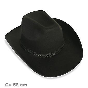 Cappello da cowboy nero cavo Wild West cappello