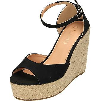 Krush Black Faux Suede Wedge Heel Ankle Strap Peep Toe Platforms
