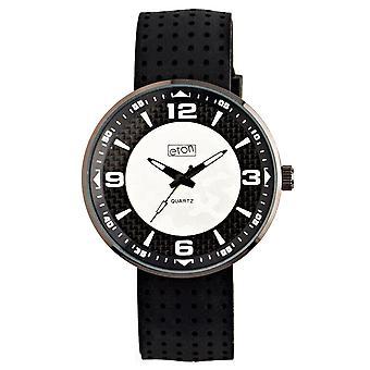 Eton Mens Horloge, Zwarte Siliconen band, Zilveren Wijzerplaat - 3101G-SL
