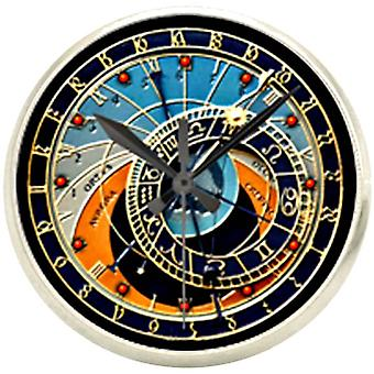 Bassin and Brown Astronomical Clock Lapel Pin - Blue/Navy