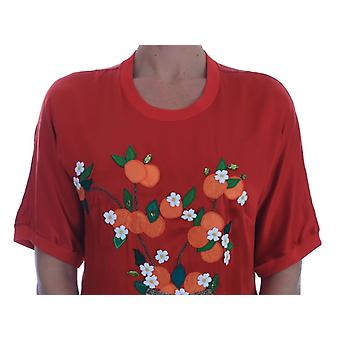 Dolce & Gabbana Röd Siden Apelsiner Blommig Kristall Blus