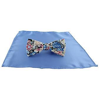 Michelsons di Londra Contast floreale papillon e pianura tasca quadrato Set - blu chiaro