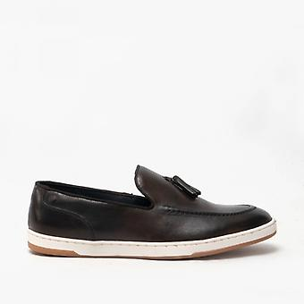 Base London Pogo Menns Skinn Slip På Loafers Brown