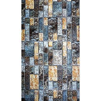 Stein 1 Multicolor bedruckter Teppich aus Polyester, Baumwolle, L140xP220 cm
