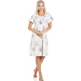 Camille Classic Short Sleeved Purple & Grey Nightdress