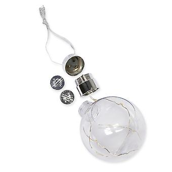 Premium 80mm Light Up LED Fillable Open Fronted Clear Plastic Kerstbal