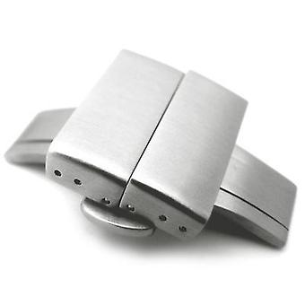 Strapcode watch clasp 20mm, 22mm, 24mm deployment buckle / clasp, brushed stainless steel with release button